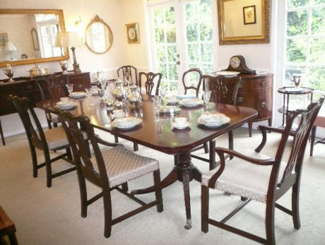 Straight Leg Chippendale Dining Chairs W/ Hepplewhite Table